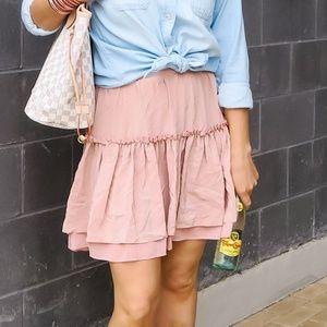 All Saints light pink silk skirt
